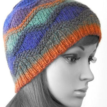 Hand knitted  beanie hat color wave