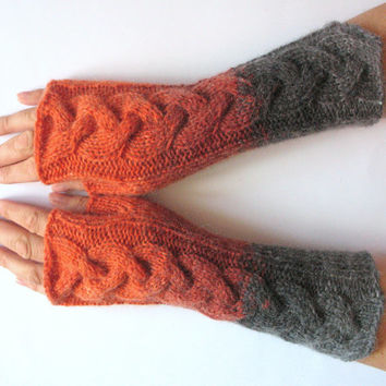 Brown Fingerless Gloves Knit Gloves Winter Gloves Orange Gray Long Fingerless Gloves Soft acrylic mohair wool
