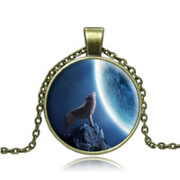 Wolf art picture Vintage Bronze chain Necklace Pendant  (Size: 18 ', Color: Bronze) = 1946384132