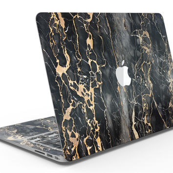 Black and Gold Marble Surface - Macbook Air Skin Set