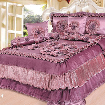 Tache 6 Pieces Solid Mauve Faux Satin Napa Vineyard Luxury Floral Comforter Quilt Set