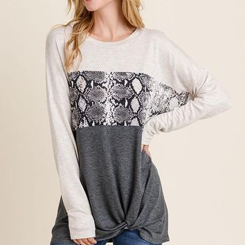 Snakeskin Contrast Gathered Top