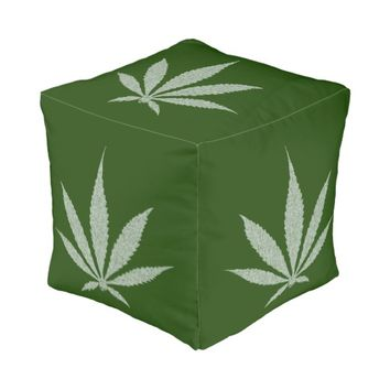 Ganja cannabis weed smoke pot gray and green theme pouf