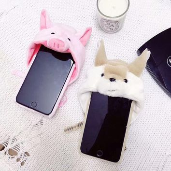 Cute Animal Case For iPhone 6 6S Plus Cover Rabbit Fur Hat Case For iPhone X 8 iPhone 7 7 Plus Phone Accessories Fundas