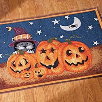 Pumpkin Cat Skid Resistant Tapestry Rug Halloween