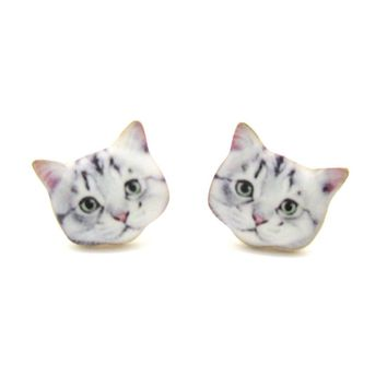 Adorable Grey Tabby Kitty Cat Face Shaped Stud Earrings | Animal Jewelry