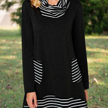 New Black Striped Pockets High Neck Long Sleeve Casual Countryside Mini Dress