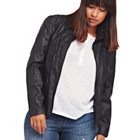Ruffle Side Faux Leather Jacket | Wet Seal +