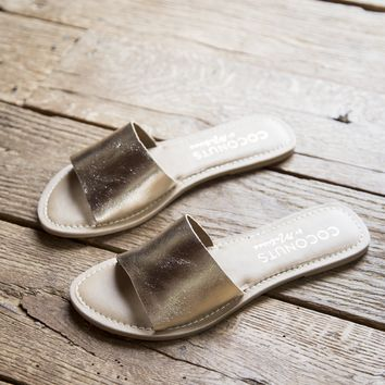 Cabana Leather Band Sandal, Gold | Coconuts by Matisse