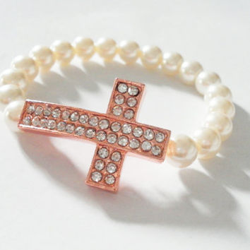 Faux pearls pave rhinestones crystal sideways cross bracelet - rose gold plated thick chunky simple elegant fashion inspired winter 2013