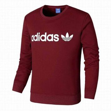 PEAPIH3 Adidas Clover Tide brand men and women fashion plus cashmere sweater Red