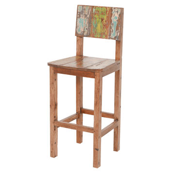 Vintage Reclaimed Fishing Boat Wood Bar Stool