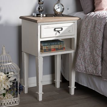Baxton Studio Dauphine Provincial Style Weathered Oak and White Wash Distressed Finish Wood Nightstand  Set of 1