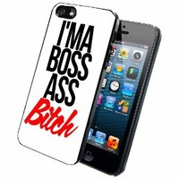 IM'A BOSS ASS BITCH Case Back Cover (iPhone 5 5s - Plastic) comes with Security Tag and MyPhone Designs(TM) Cleaning Cloth