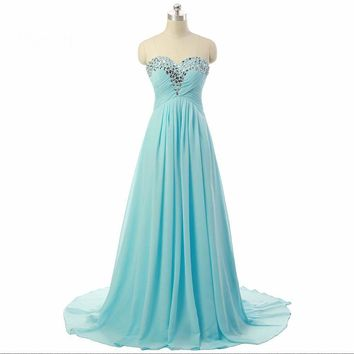 Sweetheart A line Chiffon Long Prom Dresses Beaded Lace up back Evening Dresses