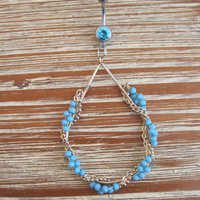 Belly Button Ring - Body Jewelry - Tear Drop Shaped Blue Beaded Hoop w/ Wraparound Chain with Light Blue Gem Stone Belly Button Ring