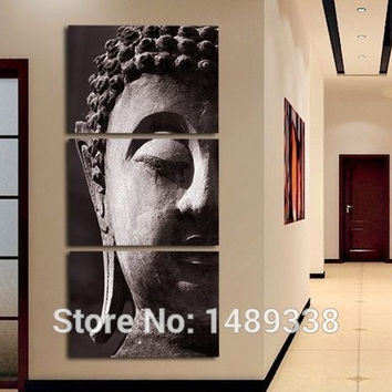 3 Panel Wall Art Religion Buddha Oil Style Painting On Canvas Framed Room Panels For Home Modern Decoration art print picture = 1933189508