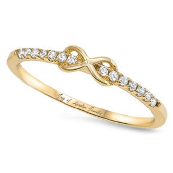 14K Yellow Gold 1.9TCW Russian Lab Diamond Infinity Ring Pinky Ring