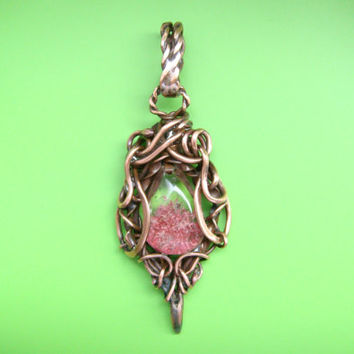 Copper Wire Wrapped pendant , phantom quartz. FREE SHIPPING!