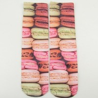 Fashion Men Women 3D Colorful Printed Multiple Colors Cotton High Socks Harajuku Unisex WHF220 (9 Macarons)
