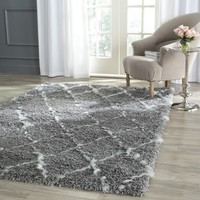 Safavieh Moroccan Shag Grey/ Ivory Rug (8' x 10') | Overstock.com Shopping - The Best Deals on 7x9 - 10x14 Rugs