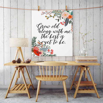 "bedroom decor ""grow old with me the best is yet to be"" gift for him personalized wedding wedding gift bubble letters gift ideas romantic"