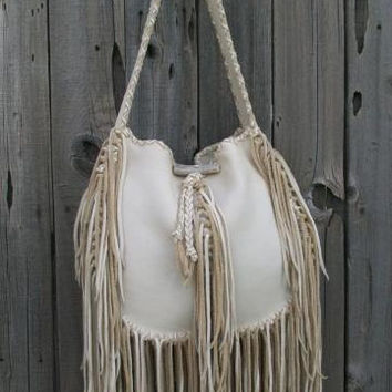 On Sale and ready to ship ! Fringed hobo handbag Fringed leather tote