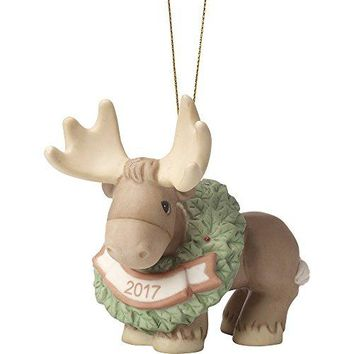 Precious Moments Merry Christmoose Dated 2017 Moose Bisque Porcelain Ornament 171009