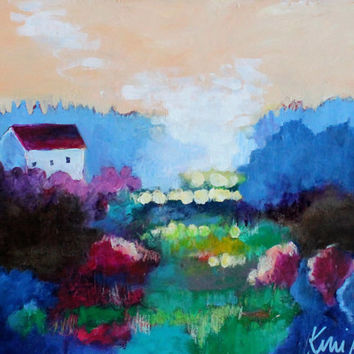 "Colorful Abstract Landscape Painting, Countryside, Farmhouse, Small Original Acrylic Painting ""Soft Earth"" 14x11"