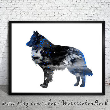 Groenendael Belgian Shepherd Watercolor Print Archival, Groenendael Art, Belgian Shepherd watercolor, watercolor painting, dog art,
