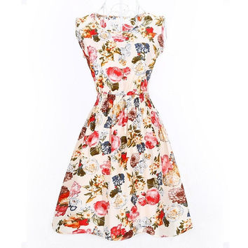 Summer Women Dress Floral Sleeveless Chiffon Stripe Elastic Waist Bohemian Beach Dresses