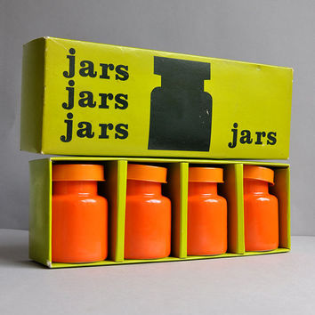 Bright Orange Mod Jar Set - Pride Japan - New Old Stock