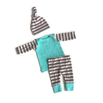 Newborn boy coming home outfit - bamboo - baby boy take home outfit - stripes - mint - leggings - infant boy - shower gift