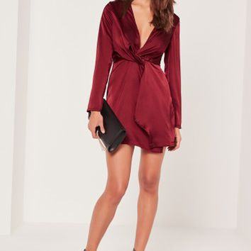 Missguided - Silky Plunge Wrap Shift Dress Burgundy
