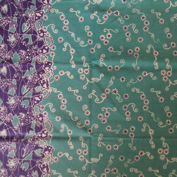 Spring Lucile Green Indonesia Batik Fabric, Handstamped, Cotton Batik Fabric for Sarong, Clothing, Quilt, Bag, Skirt, Dress, Sewing