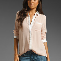 Free People Boyfriend Button Down Blouse in Blush Combo from REVOLVEclothing.com