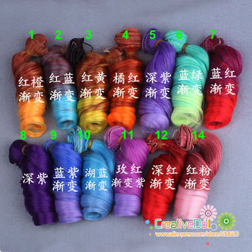 free shipping 15cm BJD/SD Doll Wigs/hair DIY High-temperature Wire Curly wave rainbow