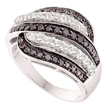 14kt White Gold Women's Round Black Color Enhanced Diamond Five Row Striped Band Ring 7/8 Cttw - FREE Shipping (US/CAN)