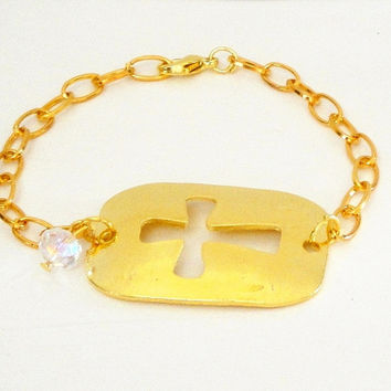 Silver & Gold Cross Cut Out Christian Sideway Connector Bracelet, Religiouis Jewelry, Sisters, Mother Daughter Gift