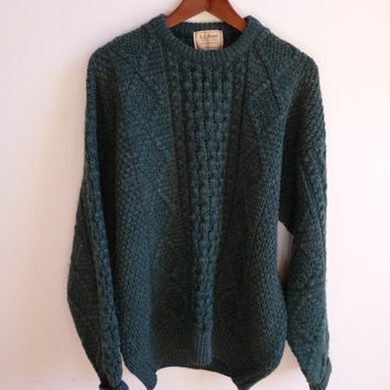 Vintage L.L. Bean Green Wool Sweater Mens Large USA