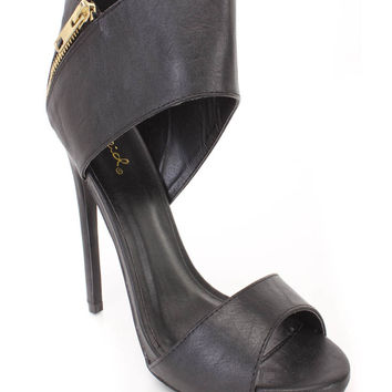 Black Peep Toe Zipper Accent Single Sole Heels Faux Leather