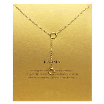 Sparkling karma double circle lariat necklace gold plated Pendant necklace Clavicle Chains Fashion Necklace Women Jewelry
