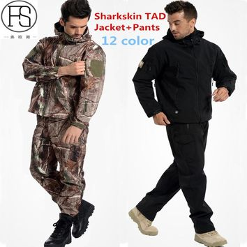TAD Tactical Sets Men Outdoor Hiking Toread Hunting Clothes Camouflage Suit Military Waterproof Hooded Sharkskin Jacket+Pants