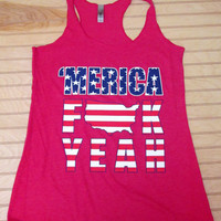 Tri Blend Racerback Tank Top 'Merica F**k Yeah USA Flag 4th Of July