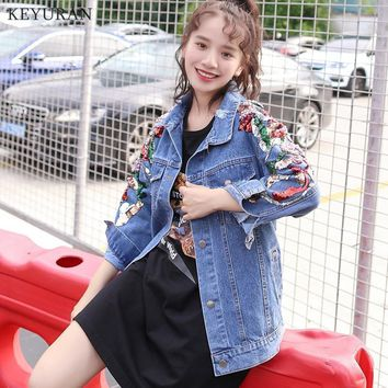 Trendy Fashion Sequins Denim Jacket Womens 2018 Spring Autumn Heavy Bead Diamonds Embroidered Holes Loose Female Casual Jeans Coats AT_94_13