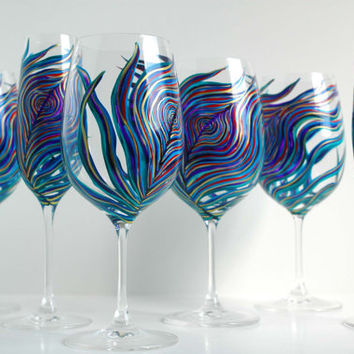 Peacock Wedding Glassware -- 6 Piece Personalized Toasting Collection -- Hand Painted Wine Glasses and Champagne Flutes
