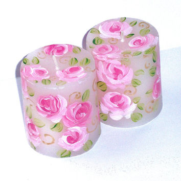 Rose Pillar Candle FREE SHIPPING Hand Painted Romantic Shabby Chic Decor