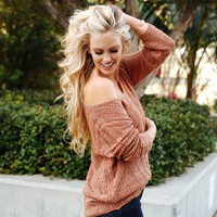 Burnt Caramel Knit Sweater Top