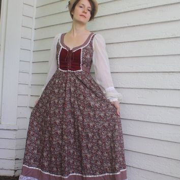 70s Gunne Sax Dress Red Print Long Maxi Prairie Full Corset Vintage 7 XS