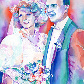 SPECIAL gift for PARENTS - 50th wedding ANNIVERSARY colorful watercolor portrait